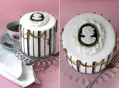 Images of Olofson Design wedding cakes, cupcakes and iced cookies. Gorgeous Cakes, Amazing Cakes, Baking Cupcakes, Cupcake Cakes, Cameo Cake, One Tier Cake, Minnie Cake, Couture Cakes, Little Cakes