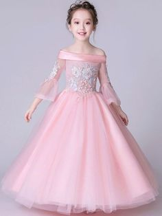 Embroidery Sequined Applique Slash Neck Seven-Tenths Sleeves Long Dress kids Baby Girl Party Dresses, Little Girl Dresses, Baby Dress, Girls Dresses, Flower Girl Dresses, Dresses For Kids, Frocks For Girls, Kids Frocks, Dress Anak