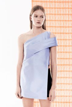Dion Lee | Resort 2015 | 20 Pale blue one shoulder tunic and black shorts