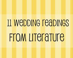 Wedding Readings From Literature--- TT!! On your programs... Jane Eyre and the one from Nicole Krauss