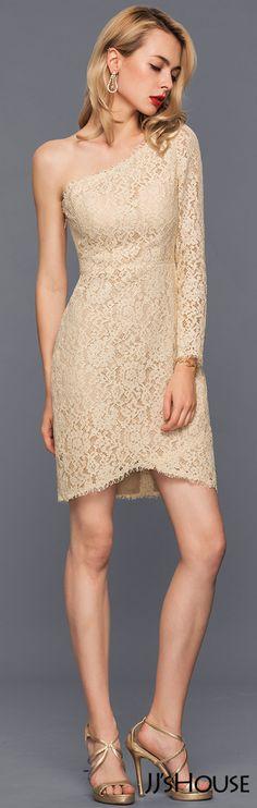 Sheath/Column One-Shoulder Asymmetrical Lace Cocktail Dress#JJsHouse #Cocktail dresses