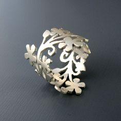 Sterling Silver Floral Branch Ring by Lisa Hopkins Design