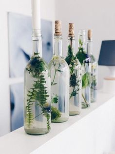 Simple floral decoration in glass bottles ::: DIY and thoughts on .- Einfache Blumendeko in Glasflaschen ::: DIY und Gedanken zur Konfirmation Bottles as candlestick // filled with floral deco holder - Summer Decoration, Decoration Table, Decoration Bedroom, Room Decor, Simple Table Decorations, Wall Decor, Wall Art, Cute Dorm Rooms, Cool Rooms