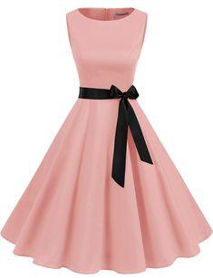 Vintage Style Women's 1950s Retro Dresses Simple Swing Dress   Gardenwed Elegant Party Dresses, Pretty Prom Dresses, Homecoming Dresses, Cute Simple Dresses, Cute Dresses For Teens, Beautiful Dresses For Women, Girls Fashion Clothes, Teen Fashion Outfits, Fashion Dresses