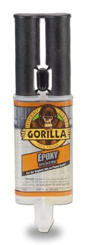 Gorilla Glue 4200101 Epoxy 25 ml Syringe by Gorilla Glue. $6.97. From the Manufacturer                Gorilla Epoxy provides a strong, permanent, fast and gap-filling bond that's great for multiple surface applications. The all purpose formula bonds steel, wood, aluminum, ceramic, tile and more. Impact resistant to handle bumps, bangs and drops, Gorilla Epoxy is water and solvent resistant and non-toxic once cured. The easy-to-use, reusable syringe dispenses equal amounts ...