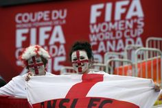 Now that's some pride! Supporters of England waves the national flag and don painted faces for the Women's World Cup match against France on June 9, 2015. France ended up going home with the win with a final score of 1-0.