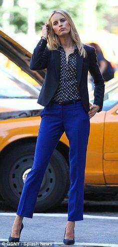 Royal blue with black polka dot shirt and blazer
