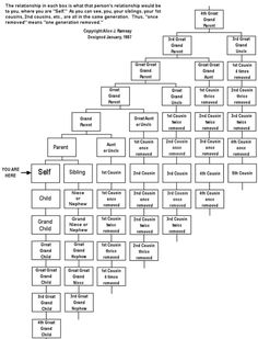 Family Tree Branches Explained - a handy chart explaining all of those confusing family connections
