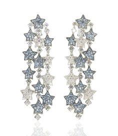 Michele della Valle Aquamarine & Diamond 'Falling Stars' Ear Clips Falling Stars, Jewelry Boards, Aqua Marine, Ring Earrings, Diamond Earrings, Carat Gold, Beautiful Earrings, Diamond Cuts, Jewels