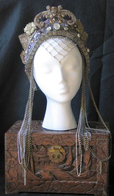 Fantasy Hand Made beaded embroidered Medieval Queen Princess Fairy Renaissance Belly Dance headpiece Crown Hat. $295.00, via Etsy.