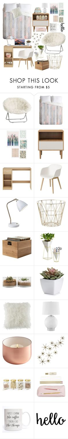 """""""Campus Chic: Dorm Edition"""" by teeny-trends ❤ liked on Polyvore featuring PBteen, DENY Designs, Muuto, Adesso, ferm LIVING, Umbra, BCBGeneration, JAlexander, Global Views and Argento SC"""