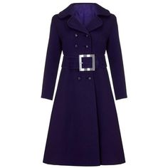 Preowned 1960s Haute Couture Space Age Purple Wool Coat ($795) ❤ liked on Polyvore featuring outerwear, coats, 1960s, purple, vintage, double breasted woolen coat, purple coats, blue coat, purple wool coat and vintage coats