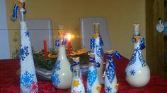 Lahvičky zdobené papírovými výlisy a plněné domácím vaječným likérem