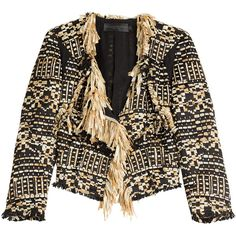 Donna Karan New York Tweed Jacket (€990) ❤ liked on Polyvore featuring outerwear, jackets, coats & jackets, coats, gold, gold metallic jacket, tailored jacket, fringe jacket, tweed jacket and evening jackets
