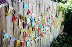 Outdoor party bunting wall idea