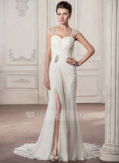[US$ 179.99] Trumpet/Mermaid Sweetheart Court Train Chiffon Wedding Dress With Ruffle Lace Beading Sequins Split Front