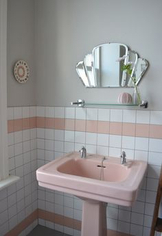 My granny used to have a pink bathroom suite like this but with black tiles - very dramatic and deco  / Sophie & Nicks Colorful Victorian Townhouse House Tour
