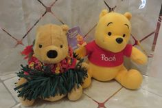"Set of 2 Disney Plush Pooh's ~ 9"" Sega Classic Pooh & 7.5"" Gund Hawaiian Pooh  #GundSega"