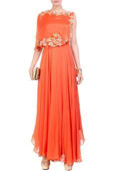 Tangerine Cape Dress by Anushree Agarwal, Ethnic Gowns #indowestern #ethnicwear #ethnic #fusion #western #wedding #shopping #weddingseason #online #bff #bestfriend #bffswedding #cocktail #sangeet #reception #dance #elegant
