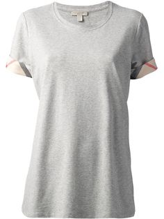 Burberry Check Cuff Stretch Cotton T-Shirt - Farfetch Burberry Brit, Burberry T Shirt, Short Sleeve Tee, Short Sleeves, Short Sleeve Dresses, Grey Tee, Gray, Shirt Cuff, Loose Fitting Tops