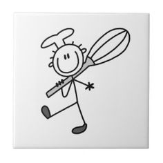 Stick Figure Chef With Whisk Ceramic Tile