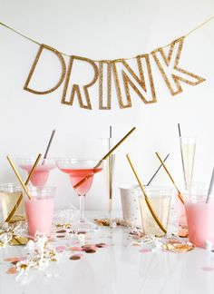 Metallic Straws | Cocktail Bar | Drink Bunting | Wedding Decor | Party Decor | Celebration |