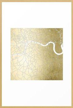 Gold on White London Street Map II Framed Art Print City Framed Art, White Wall Art, Framed Maps, Framed Wall Art, Framed Art Prints, Canvas Prints, Street Map Of London, London Map