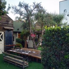 Dine and drink indoors or outdoors at Eveleigh restaurant near The London West Hollywood Hotel.