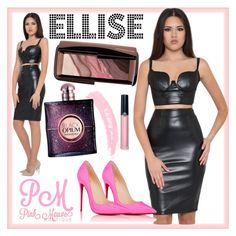 """""""Pink Mauve - ELLISE Faux Leather Set"""" by pinkmauveboutique ❤ liked on Polyvore featuring Christian Louboutin, Topshop, Yves Saint Laurent, Armani Beauty and Hourglass Cosmetics"""