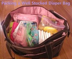 Packing a well stocked diaper bag with lots of great items and tips, pregnancy ideas, gift idea, new baby must have products