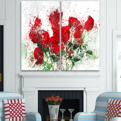 Design Art 'Bed of Roses' Art Print - 40Wx40H Inches - 2 Panels