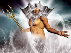 Poseidon God of the seas, earthquakes and horses. Middle son of Cronus and Rhea. Brother of Zeus and Hades. Married to the Nereid Amphitrite, although, like most male Greek Gods, he had many lovers. Greek Gods And Goddesses, Greek And Roman Mythology, Irish Mythology, Dark Hunter, Vampire Rave, Zeus And Hades, Neptune, Roman Gods, Mermaids And Mermen