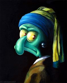Squidward with the Pearl Earring fan art. Cartoon Wallpaper, Funny Iphone Wallpaper, Funny Wallpapers, Disney Wallpaper, Squidward Painting, Squidward Art, Spongebob Painting, Appropriation Art, Girl With Pearl Earring