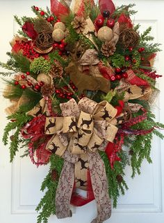 Christmas Country Mesh Burlap Wreath by WilliamsFloral on Etsy https://www.etsy.com/listing/253982328/christmas-country-mesh-burlap-wreath