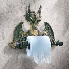 What good is a Knight Toilet Paper Holder if he doesn't have a Dragon to battle? This realistic looking Dragon Bath Tissue Holder may have friends and family Taverna Medieval, Dragons, Gothic Home Decor, Gothic House, Bathroom Wall Decor, Guys Bathroom, Office Bathroom, Bathroom Ideas, Dragon Art