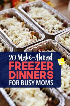 20 Make-Ahead Freezer Dinners for Busy Moms You can be that mom who's stockpiled meals in her freezer. Make-ahead freezer meals are easier than you think. Freezable Meals, Freezer Friendly Meals, Make Ahead Freezer Meals, Crock Pot Freezer, Healthy Freezer Meals, Freezer Cooking, Easy Meals, Cooking Recipes, Meals You Can Freeze
