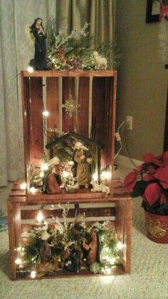 Nativity scene wooden crates - simple but elegant option Diy Nativity, Christmas Nativity Scene, Christmas Villages, Nativity Scenes, Christmas Decorations To Make, Christmas Themes, Christmas Crafts, Christmas Ornaments, Christmas Cave