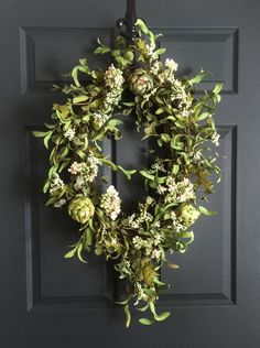 Oval Artichoke Wreath | Summer Wreath | Front Door Wreaths | Fall Wreath | Oval Wreath | Natural-Looking by HomeHearthGarden on Etsy https://www.etsy.com/listing/398237781/oval-artichoke-wreath-summer-wreath