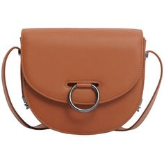 Buckled Cross-Body Bag (312.600 IDR) ❤ liked on Polyvore featuring bags, handbags, shoulder bags, metallic purse, brown handbags, long strap shoulder bags, buckle handbags and brown shoulder bag