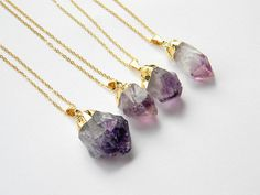Amethyst Point Necklace - Amethyst Crystal Necklace - Gold Necklace - Bohemian Necklace - Gift - OOAK on Etsy, $26.50