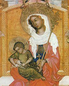 um 1350, Glatzer Madonna, Detail. Berlin, Gemäldegalerie