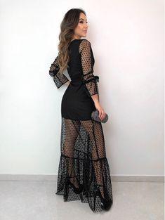 Suit Fashion, Trendy Fashion, Girl Fashion, Fashion Outfits, Black Tulle Dress, Mesh Dress, Moda Instagram, Trajes Casual, Beautiful Dresses