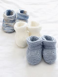 Basic Baby Booties | AllFreeKnitting.com  If I'm understanding correctly, yfwd=yo.