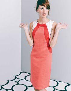 ♥♥♥ Colourblocking need not be boring. Boden/SS15 #vestido #tubinho #laço #colorblock #vermelho #branco