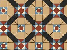 Original Style Westminster Victorian Tile Design - Buff/Black/Blue/Red/White