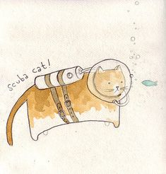 Scuba Cat Illustration and like OMG! get some yourself some pawtastic adorable cat apparel!