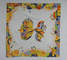 This is a very beautiful hand painted silk scarf with a funny fish . Bright orange , yellow, green and blue colors , joyful atmosphere of vacation