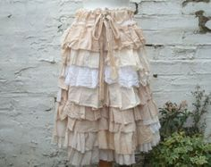 Tea Stained Upcycled Skirt Woman's Clothing Ruffles Beige Mori Girl Lagenlook Tribal Cotton Layers Woodland Bohemian Kei