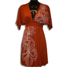 Orange V-Neck White Flowers Boho Dress Boho Beach Style, Boho Dress, Casual Dresses For Women, White Flowers, Wrap Dress, V Neck, Beach Fashion, Orange, My Style