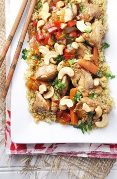 A lighter & less sugary cashew chicken->  Slow Cooker Cashew Chicken with Vegetables over Quinoa #Recipe {Gluten-Free, Dairy-Free & Clean Eating}